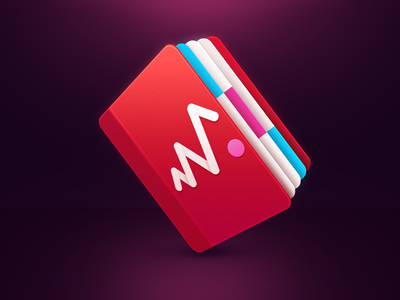 Book notebook pink page red notification blue ps icon dribbble