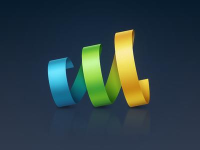 Ribbon logo blue yellow green ribbon streamer revolve