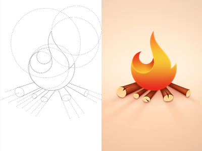 Fire fire icon light woods bonfire circle