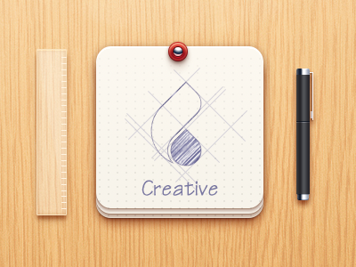 Creative icon pen ruler paper wood logo creative