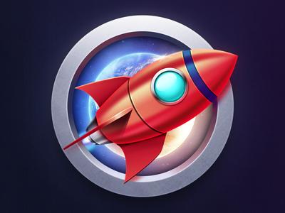 rocket rocket red blue icon technology sky universe