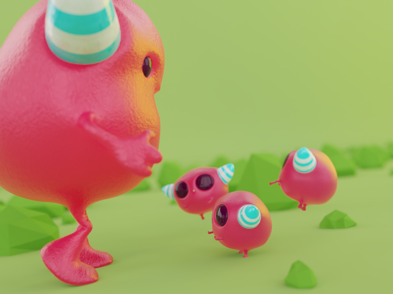 Little friends illustration 3d modeling character design 3d