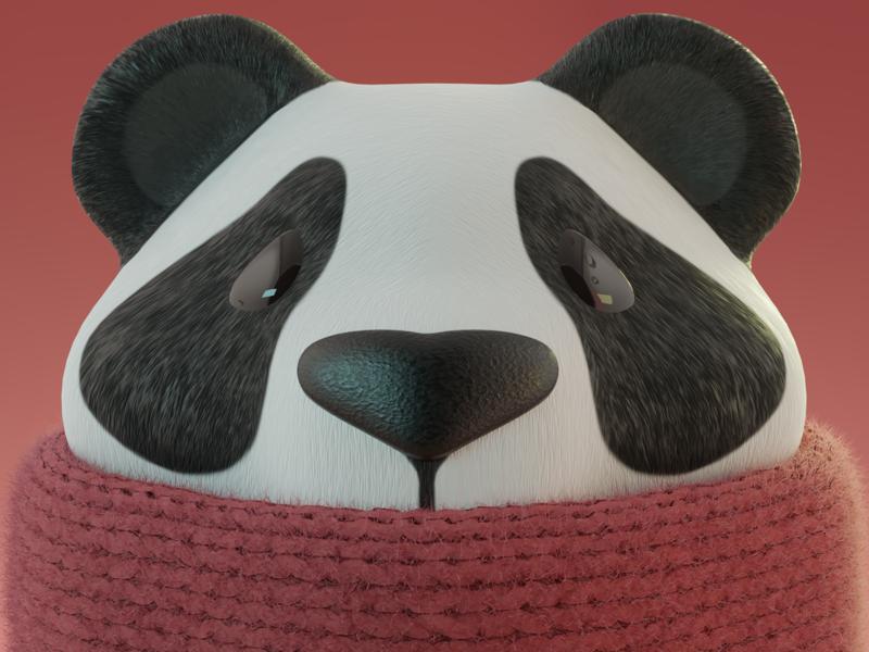 Panda blender3d illustration character design 3d render