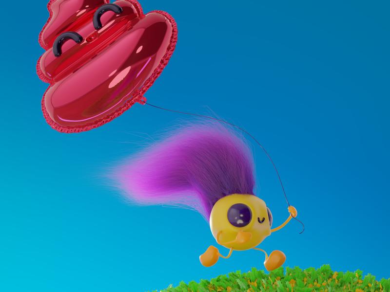 Paseando blender 3d character design render 3d ilustration