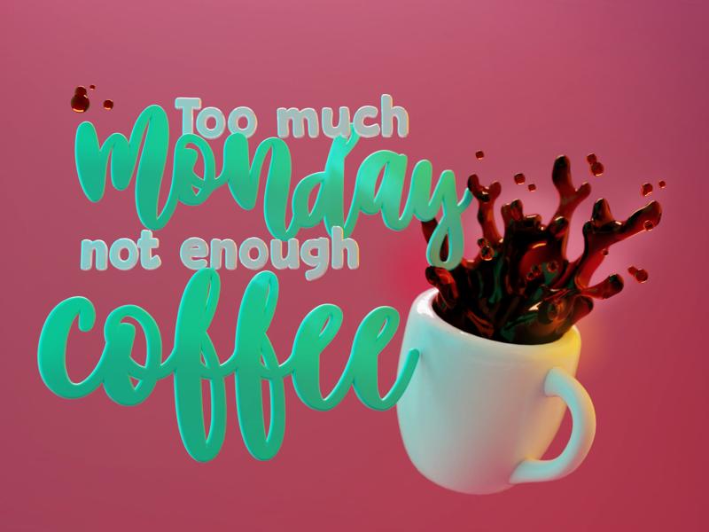 Café design blender render coffee 3d typography lettering