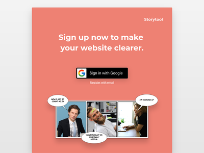 Storytool.co Signup Page - #DailyUI #01 ui web app