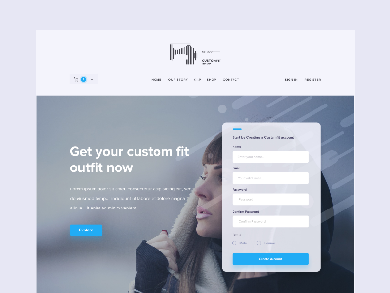 Custom Fit Landing Page frontpage homepage landing page