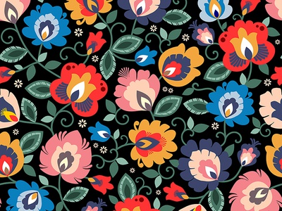 Traditional Polish folk, floral patterns, folklore from Poland
