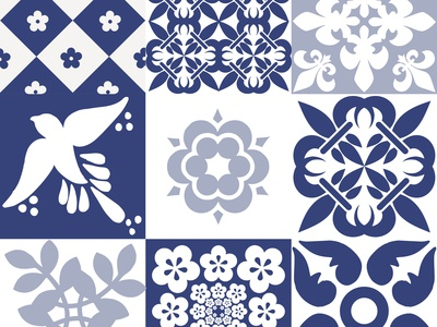Beautiful traditional Portuguese Azulejos patterns