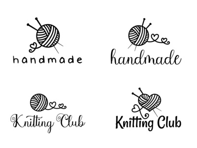 Set of logo designs with ball of yarn, knitting, handmade