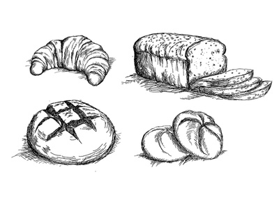 Set of hand drawn bread types vector graphicdesign kitchen foodie food bread drawing illustration traditional graphic  design graphics graphic tablet hand drawn hand graphic design vector