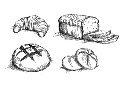 Set of hand drawn bread types vector