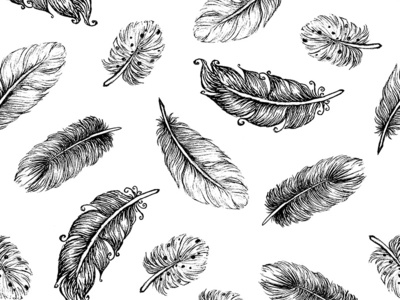Beautiful boho feather hand drawn seamless pattern