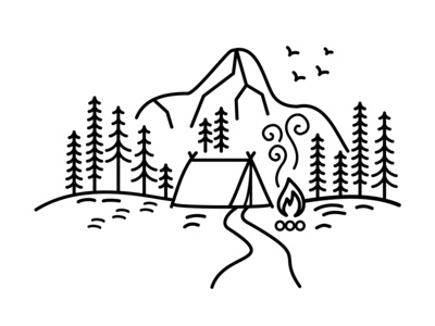 Camp In The Mountains - minimalist thin line illustration