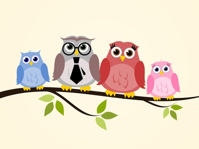 Owl Family - cute illustration