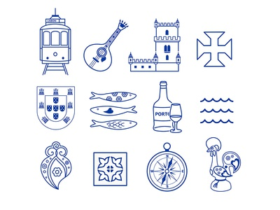 Thin line icon set for Lisbon, Portugal