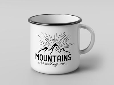 Retro, hipster graphic design for Enamelled Mug