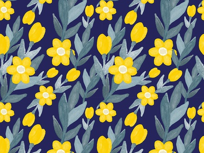 Beautiful Retro Watercolor Blue and Yellow Floral Pattern