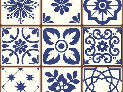 Beautiful traditional Portuguese Azulejos patterns