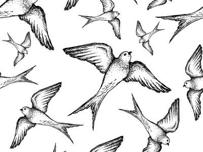 Swallow Hand Drawn Pattern surface pattern pattern art pattern a day pattern design surfacedesign surface illustrations fly drawing drawn hand drawn hand bird swallow illustration seamless graphicdesign design graphic vector