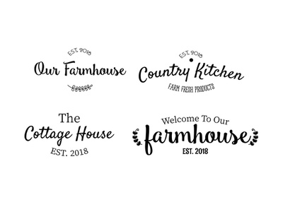 The Little Cottage Home Decor Typography Set graphic vector country vintage interior logodesign logotype logos logo typographic typedesign type art typography home kitchens kitchenware house kitchen farmhouse cottage
