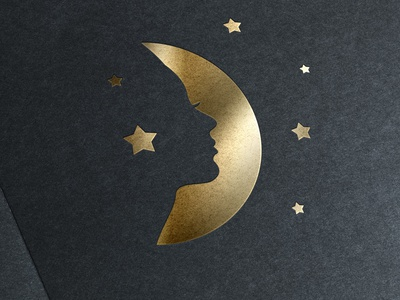 Gold Stamping Logo With Moon and Female Face