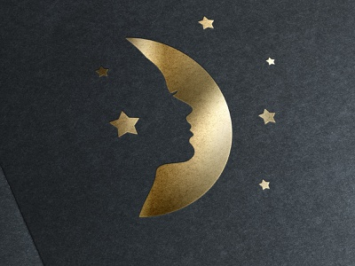 Gold Stamping Logo With Moon and Female Face logo design woman logo female logo logotype designer logotypedesign logodesign logotypes logotype logo female woman moon gold foil foiling foil stamp foil stamping gold graphic vector
