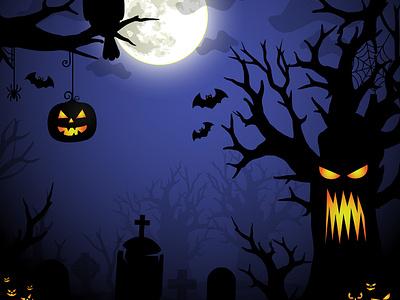 Halloween Illustration - Spooky Forrest bat graveyard vector illustration vector art illustration design vectors moon night graphicdesign design graphic halloween party halloween flyer spooky pumpkin vector illustration halloween design halloween