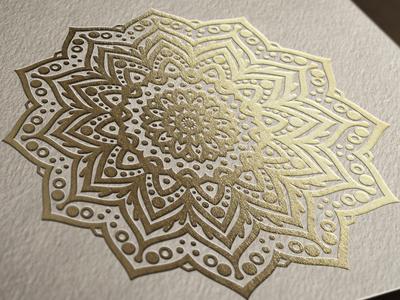 Beautiful Mandala printed with gold foil stamping