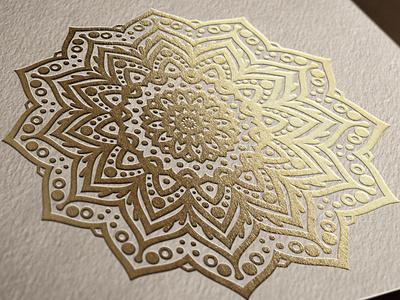 Beautiful Mandala printed with gold foil stamping meditate foil stamping foil stamped foil stamp stamping gold foil gold logotype logo spa wellbeing wellness zen yoga mandalas manada mandala design graphic vector