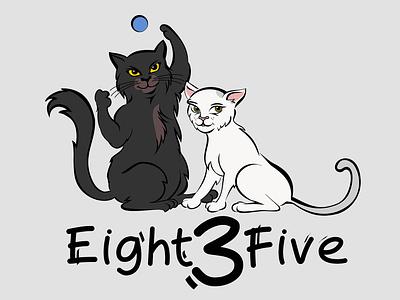 Eight3Five - Logo with cute cats - Luna and Snow logotype logo design logodesign logos cartoon comic art comic kitty illustration kittens kitten kitty cats cat branding logo illustration graphicdesign design graphic vector