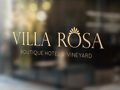VILLA ROSA - Boutique Hotel & Vineyard Window Signage holiday logo design window logodesign logos logotype branding hotel branding hotels vineyard resort home villa hotel logo graphicdesign design vector graphic