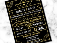 Modern Art Deco Wedding Invitation Template