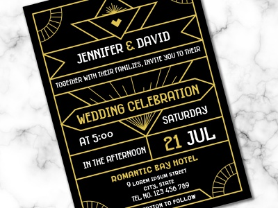 Modern Art Deco Wedding Invitation Template wedding invitation invitation design invitation card design vector gold foil gold geometry modern template card invitation wedding 1920 20s gatsby great deco art