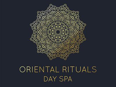 Oriental Rituals Day Spa Logo treatment relaxing relax day orient asian vector design ritual oriental golden gold spa logo wellness logo wellness mandala logo spa