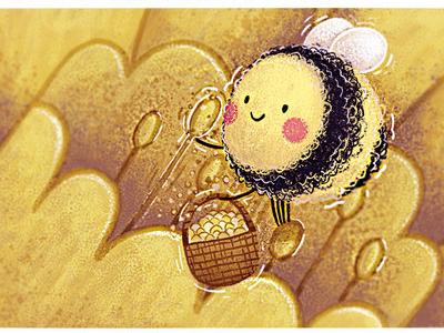Humble Bumble fills her basket vignette bumblebee design adobe photoshop character design children book illustration illustration