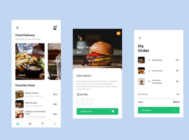 Restaurant App flat clean app mobile mobile app uiux ui food restaurant