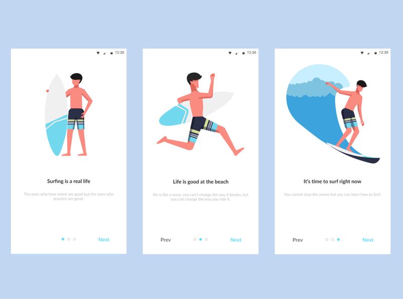 Surfing App mobile flat clean app illustration design ux mobile app ui surfing surf
