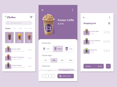 Drink Order App Chatime new boba purple design ux mobile ui mobile app mobile ui design uidesign clean uiux drink ui chatime