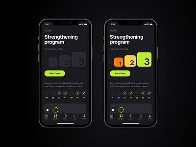 Men's health app gym sport kegel men lifestyle health green grey app mobile graphic design branding illustration interface typography ux  ui design ui design ui