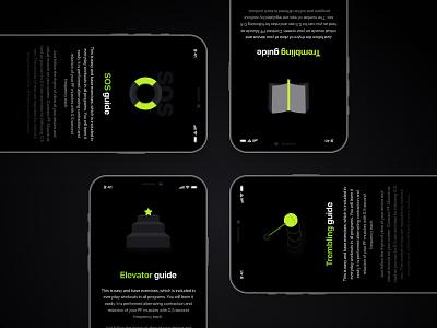 Men's health app men gym sport tutorial health grey green icon illustration branding mobile typography ux  ui design ui design interface ui