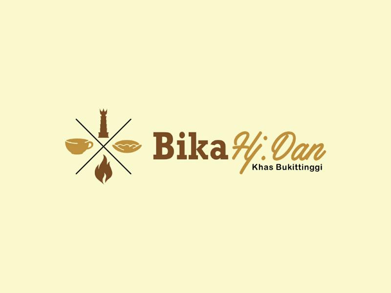 Bika Hj. Dan silhouette illustration badge vector logo indonesia west sumatera bukittinggi jam gadang firewood grilled cooking culinary foodies pancake food bika