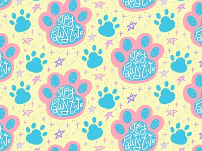 Stay Pawsitive seamless pattern multicolor seamless pattern paw print paw dog cat pet joke pun lettering illustration