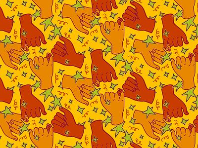 Pinky swear pattern stickers doodle colorful hands gesture pinky swear friendship friends branding seamless pattern seamless illustration