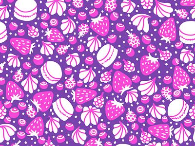 Sweet pattern cute sweet dessert raspberries blueberries strawberries berries cream macaron surface design pattern seamless illustration