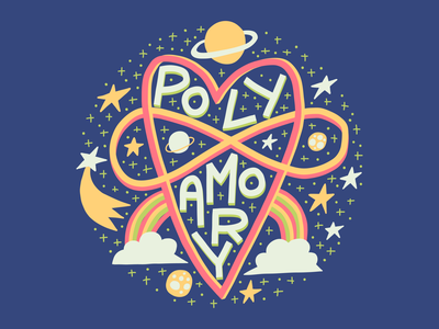 Polyamory t-shirt design print stars space lovers relationship polyamory love typography lettering illustration