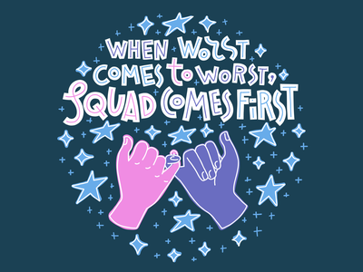 Squad quote stars promise swear pinky besties bff friendship friends card typography lettering illustration