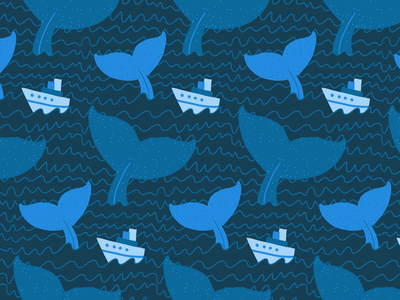 Whales huge tail wave cute boat sea ocean whale dark print seamless pattern seamless design illustration