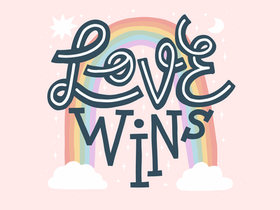 Love Wins gay lgbt rainbow slogan pride month pride love quote illustration typography lettering