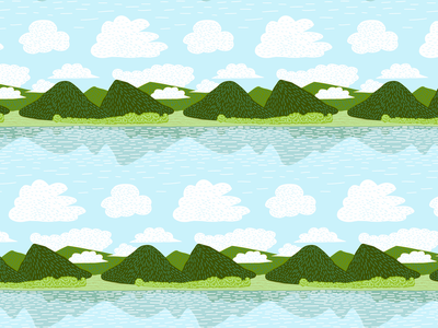 Weekend Outdoors nature surface design green landscape camping outdoors pattern hills lake seamless pattern seamless illustration
